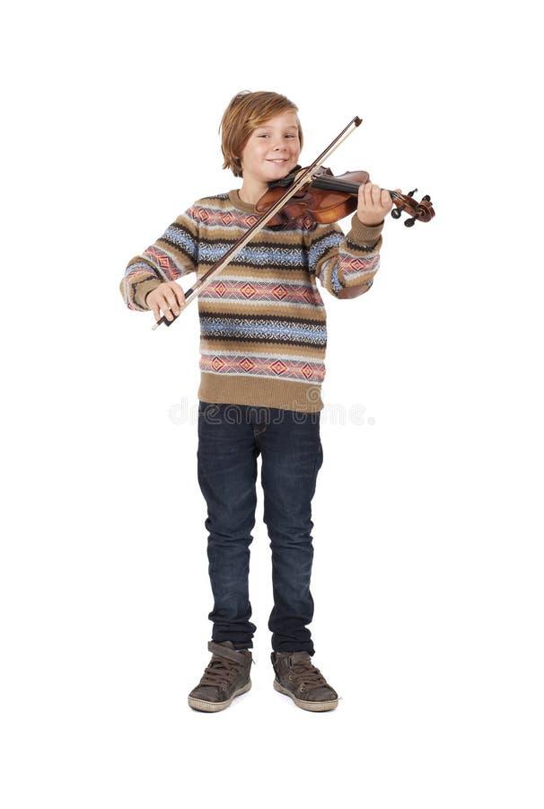 Blonde boy with a violin stock photos