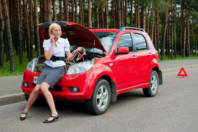 Download Blonde and broken car stock photo. Image of damaged, help - 20158554