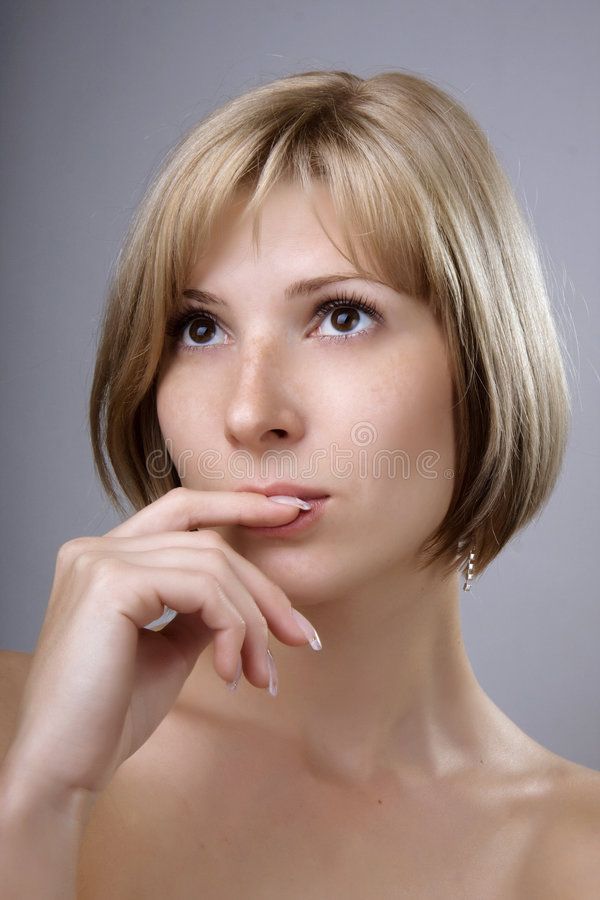 Download Blonde With Brown Eyes Close Up Stock Photo - Image: 6994570