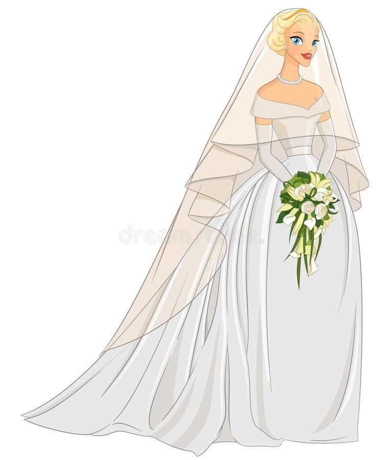 Blonde bruid met sluier en boeket Vector illustratie vector illustratie