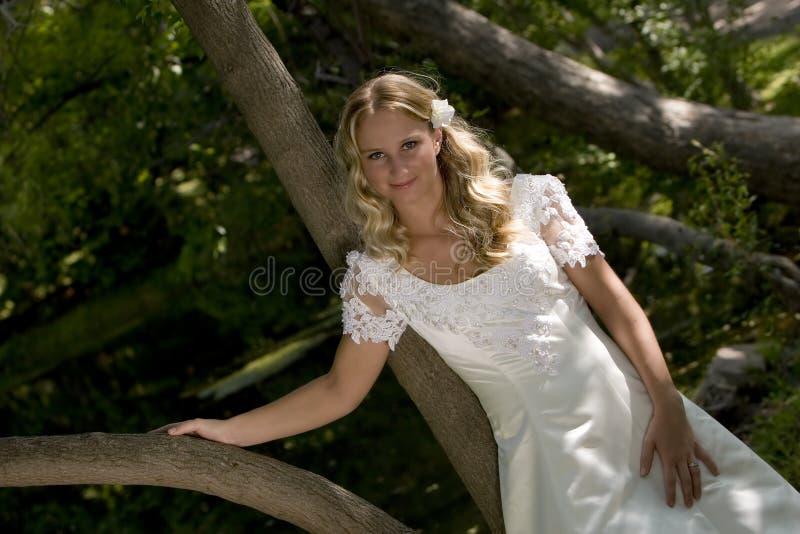 Blonde bruid in platteland stock foto