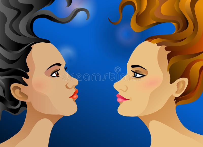 Download Blonde and brunette stock vector. Illustration of tranquillity - 33544738