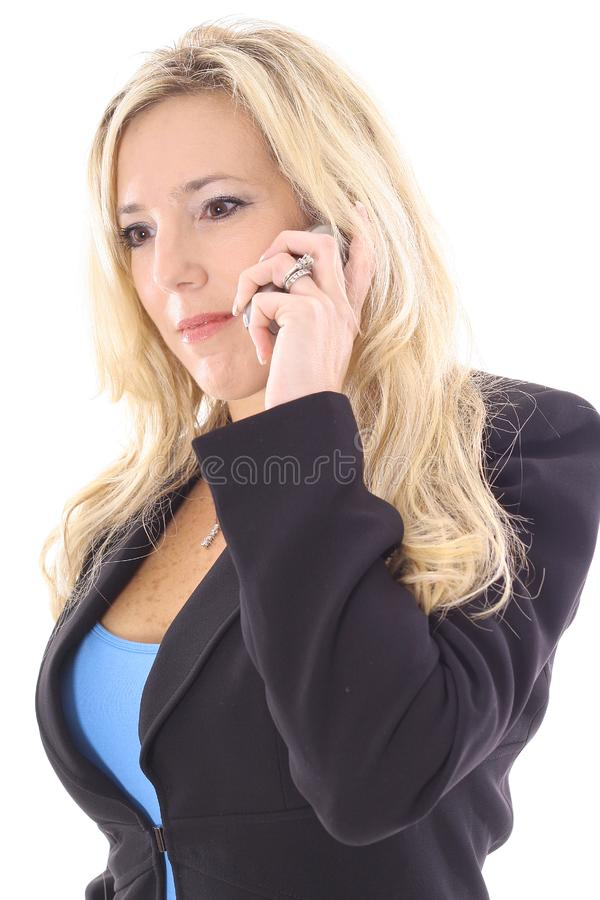 Blonde in business suit on cellphone