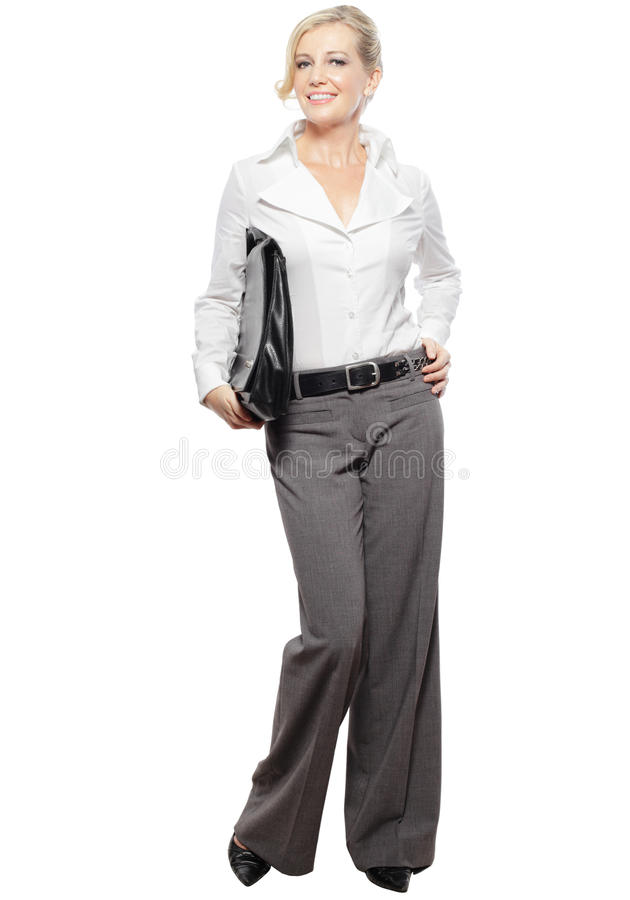 Blonde Business woman carrying document bag stock photography