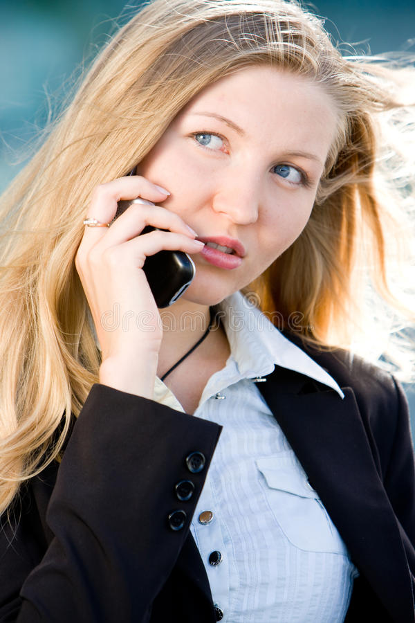 Download Blonde Business Woman On Mobile Phone Stock Image - Image: 15621721