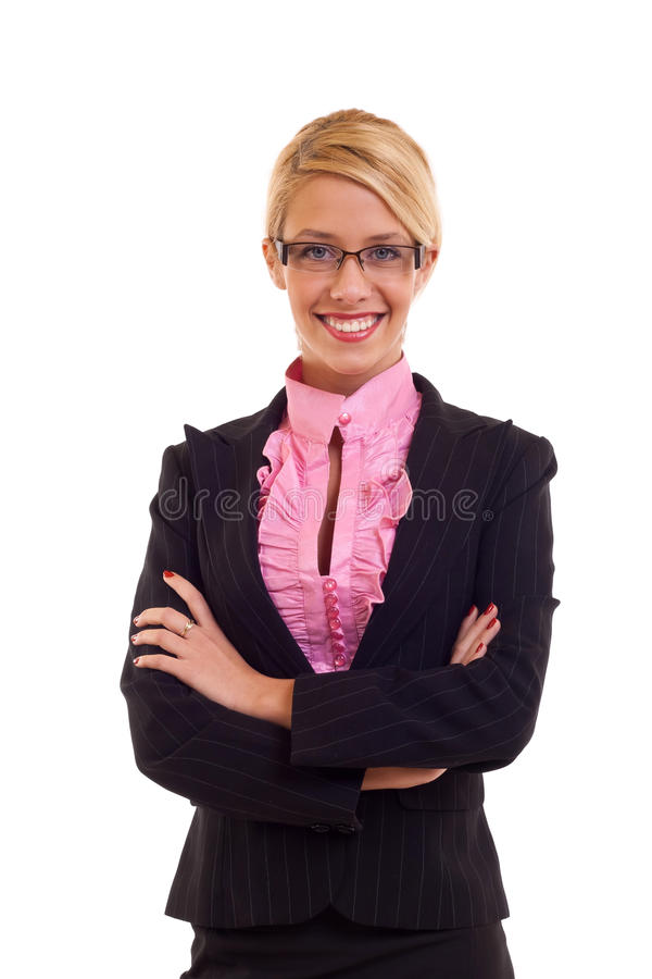 Blonde business woman smiling stock images