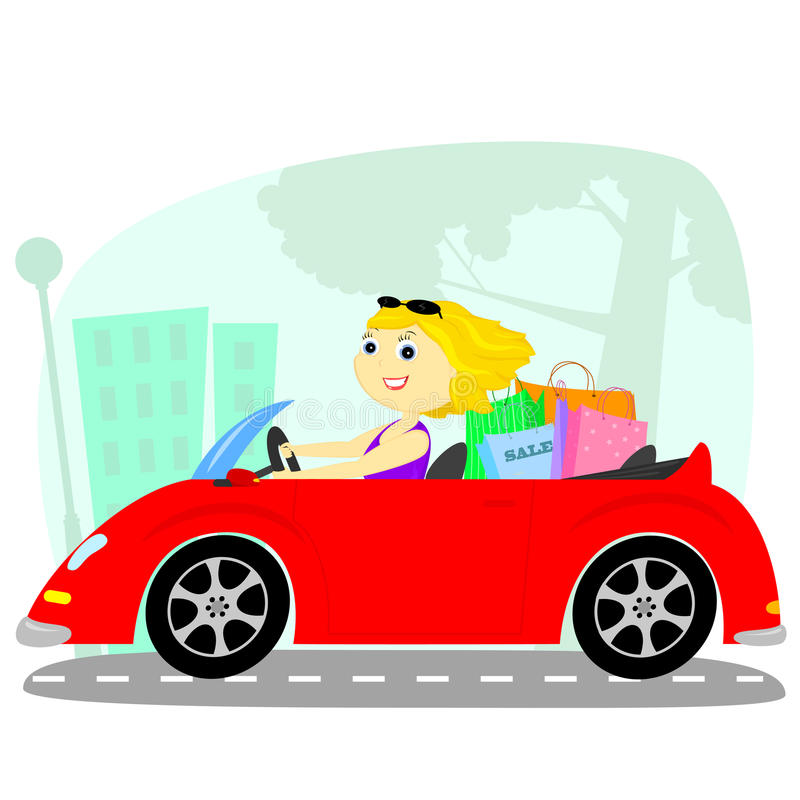 Download The blonde in the car stock vector. Image of urban, cartoon - 29348646
