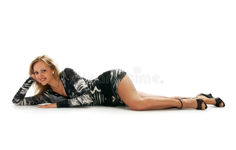 Blonde Charming no vestido sexual foto de stock