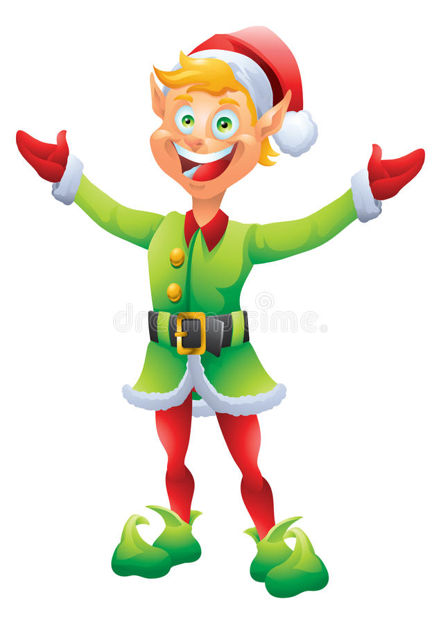 Free Blonde Christmas Elf Welcome With Open Welcoming Hands Stock Images - 46967574