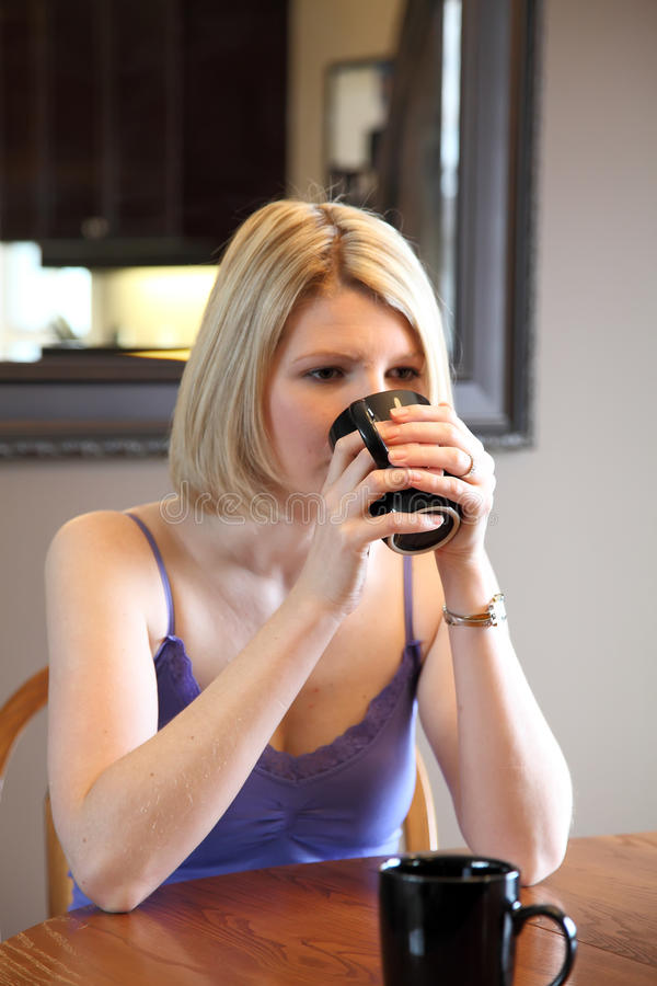 Blonde with coffee