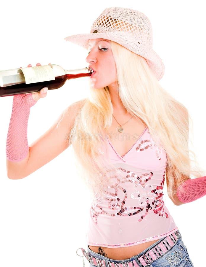 Blonde con vino immagini stock libere da diritti