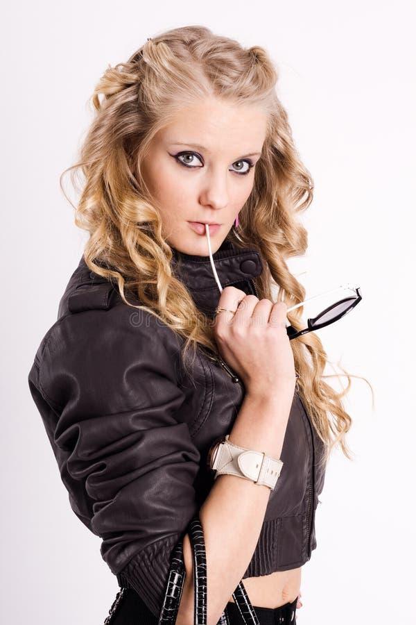 Blonde curly bonito imagens de stock royalty free