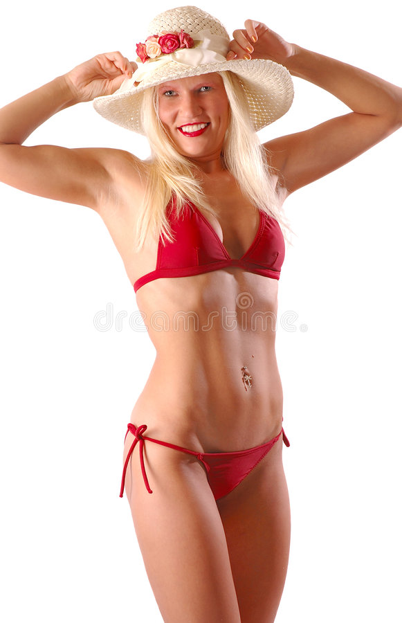 Blonde dans le bikini rouge photos stock