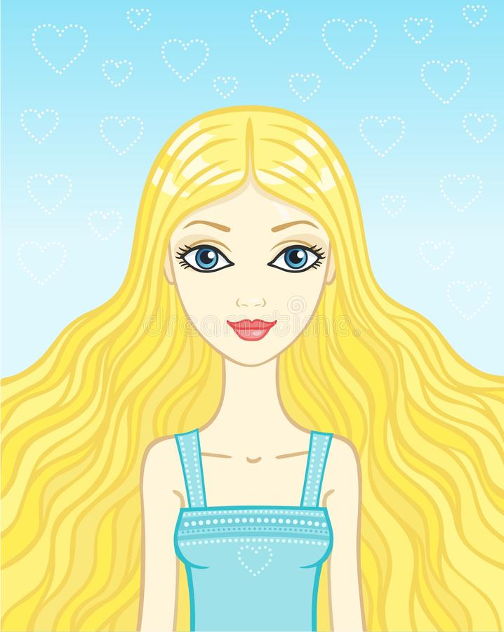 Blonde de la muchacha del retrato libre illustration