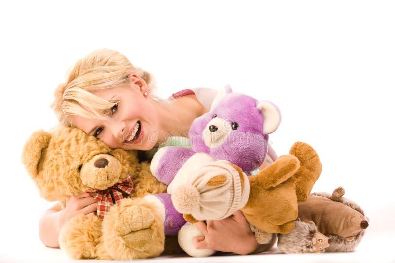 Blonde de sorriso Infantile imagens de stock