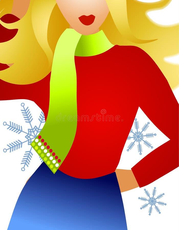 Blonde del modello di modo di inverno illustrazione di stock