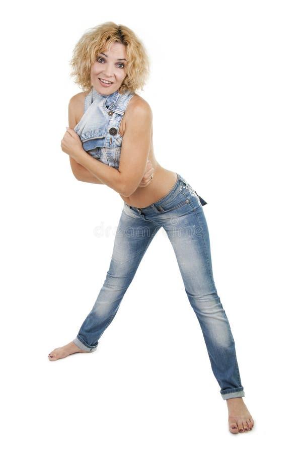 Blonde della ragazza con un torso nudo fotografia stock