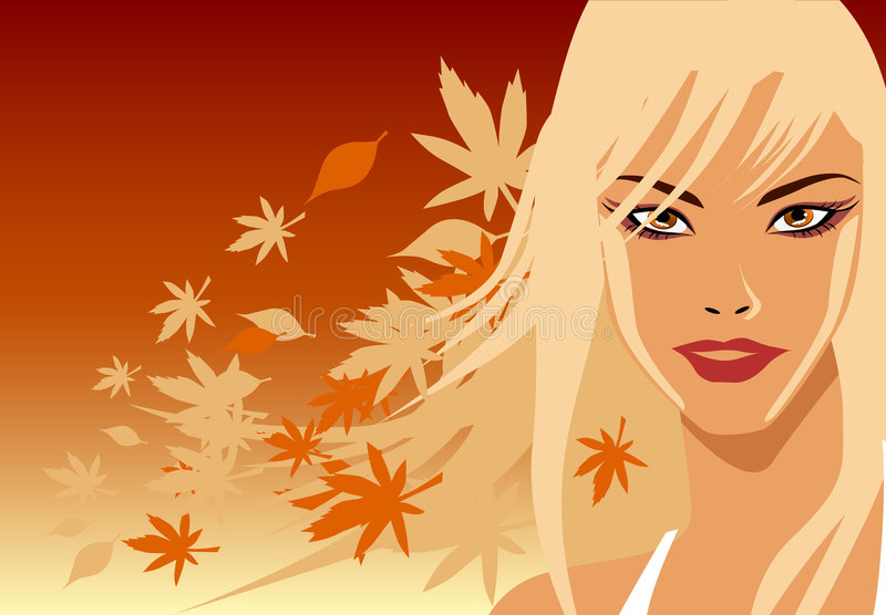 Blonde di autunno illustrazione di stock