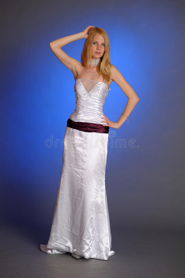 Blonde In An Elegant White Evening Gown Stock Image - Image of ...