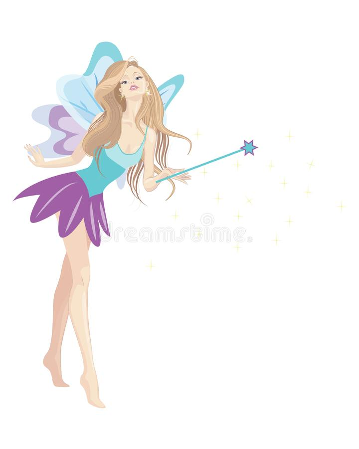 Blonde fairy girl with long hair. Wings and wand , vector cartoon illustration blue and purple outfit royalty free illustration