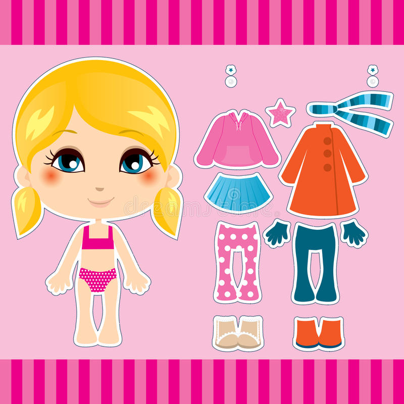 Blonde Fashion Girl. Sweet and cute blonde fashion girl clothes collection set