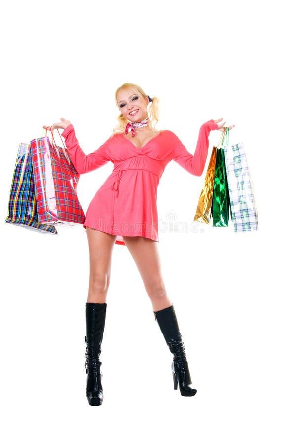 Blonde fashion model at shopping stock photo