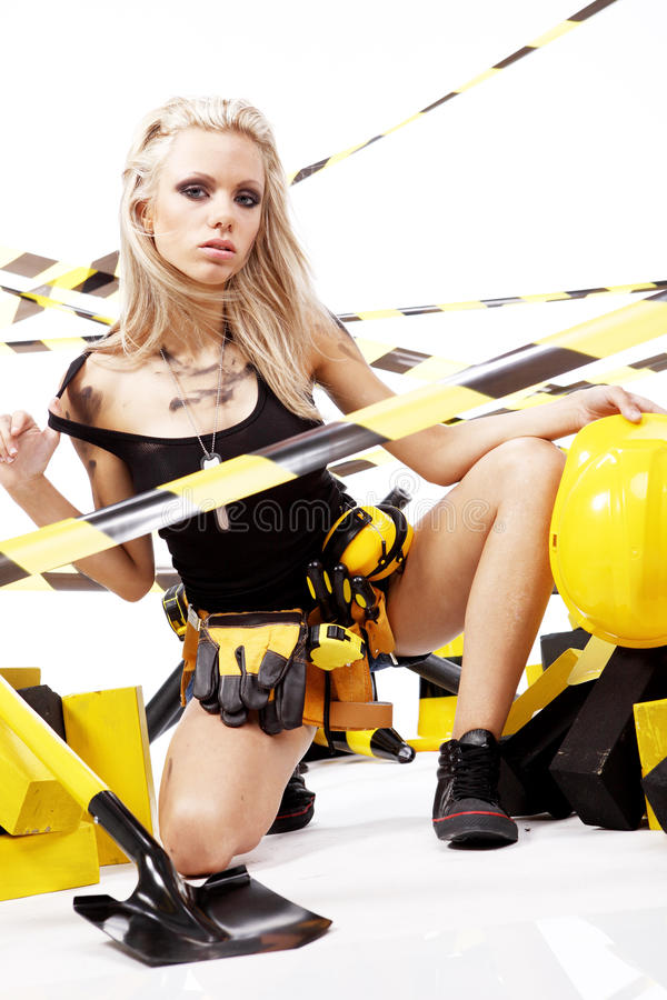 Blonde female construction worker stock photo
