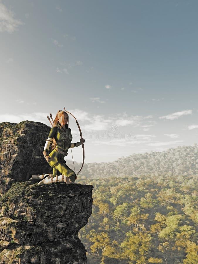 Blonde Female Elf Archer above the Forest royalty free illustration