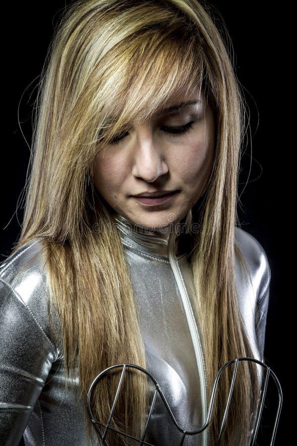 Blonde.Fiber Optisch concept, vrouw met moderne lichten stock fotografie