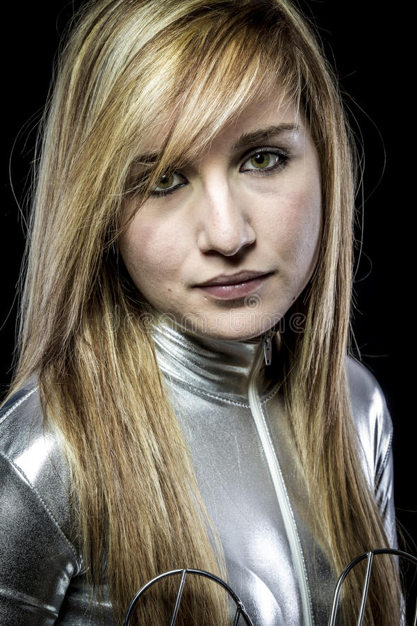 Blonde.Fiber Optisch concept, vrouw met moderne lichten stock afbeeldingen