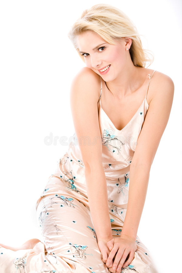 Blonde flertando nos pijamas fotos de stock