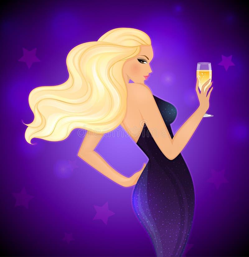 Blonde Frau der Eleganz mit Champagner stock abbildung