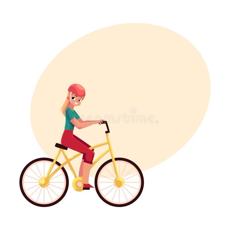 Blonde Frau der Junge recht, Mädchen, das Fahrrad, fahrend fährt rad lizenzfreie abbildung