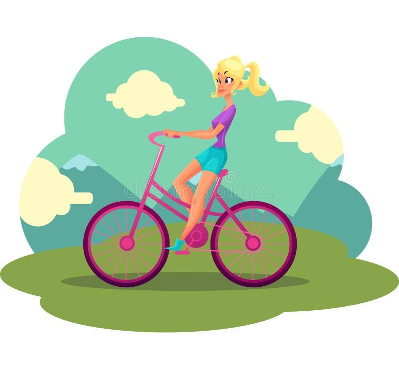 Blonde Frau der Junge recht, Mädchen, das rosa Fahrrad, fahrend fährt rad vektor abbildung