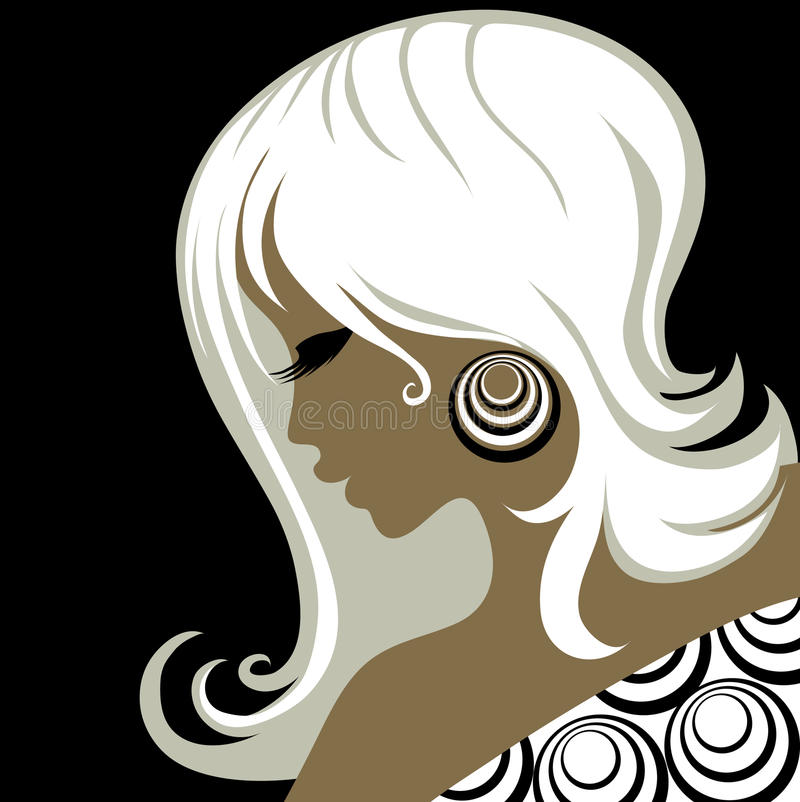 Blonde Frau der Nahaufnahmeweinlese vektor abbildung