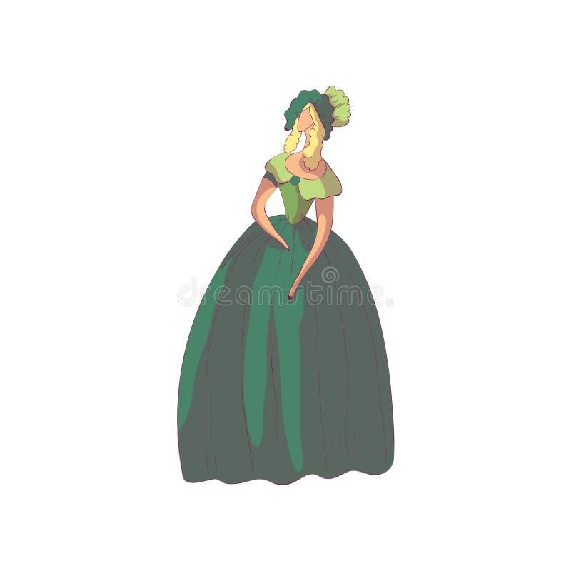 Blonde Frau in einem altmodischen langen grünen Kleid und in einem Hut Vektorabbildung auf wei?em Hintergrund vektor abbildung