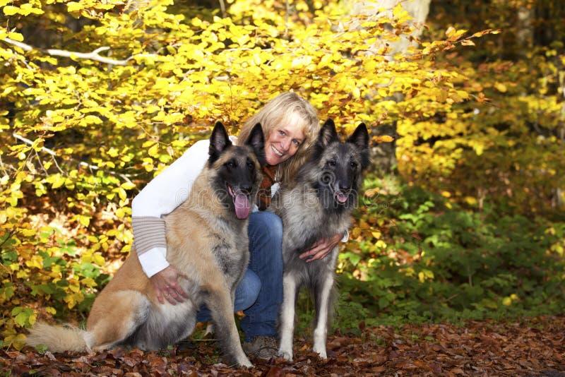 Blonde Frau mit belgischen Schäferhunden lizenzfreie stockfotografie