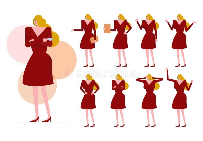 Blonde Frau mit rotem Kleid auf vielen Haltung stock abbildung