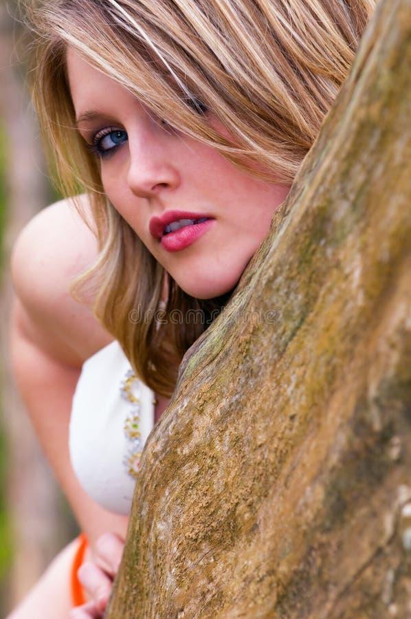 Blonde Frau Peeks um Baum stockbild
