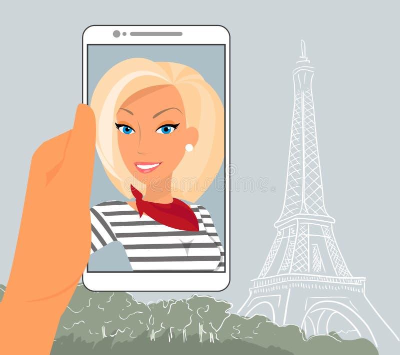 Blonde Frau zeigt ihr Foto in Paris stock abbildung