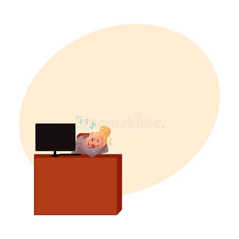 Blonde Geschäftsfrau der Junge recht, Sekretär, schlafend und dösen am Schreibtisch lizenzfreie abbildung