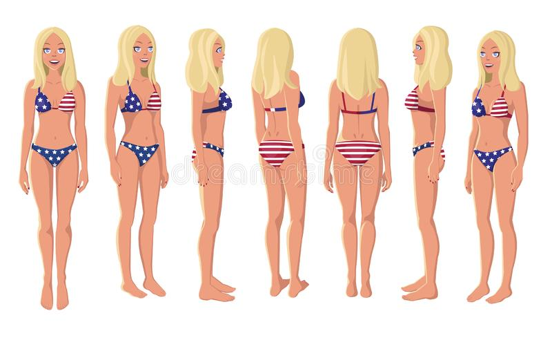 A Blonde Girl in American Flag Swimming Suit royalty free stock photos