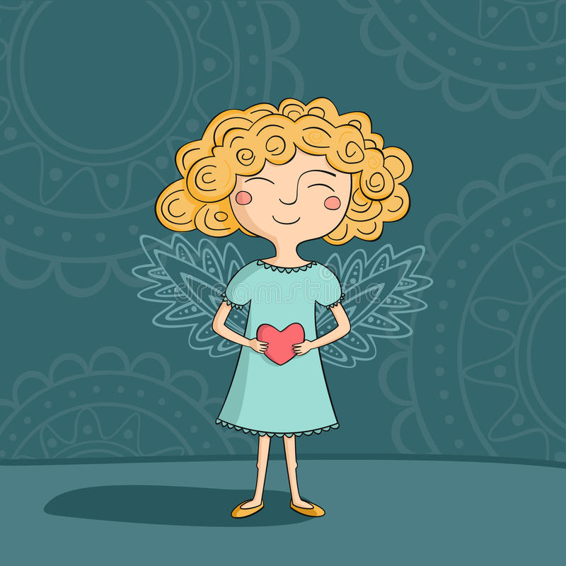 Blonde girl angel stock illustration