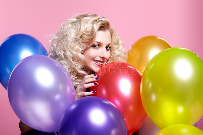 Download Blonde girl with balloons stock photo. Image of gorgeous - 17639694