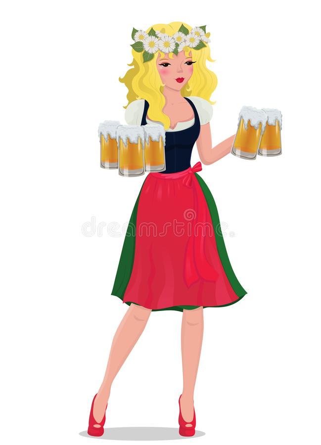 The blonde girl with beer in a traditional dress.Vector illustration stock illustration