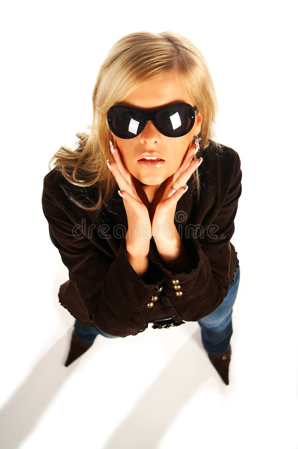 Blonde Girl With Black Sunglasses On White Royalty Free Stock Image