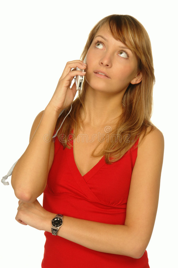 Blond Women Talking Cell Phone And Holding Folder On White