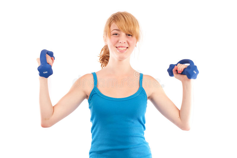 Download Blonde Girl Doing Fitness, Isolated On White Stock Image - Image: 10139713
