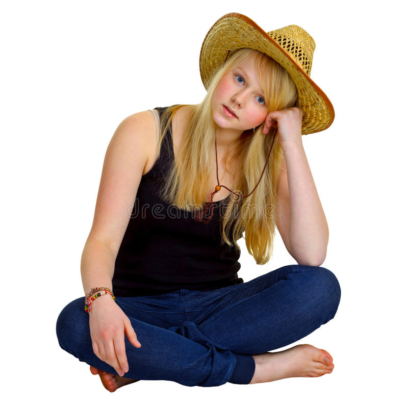 Blonde girl dressed in a rustic style stock photos