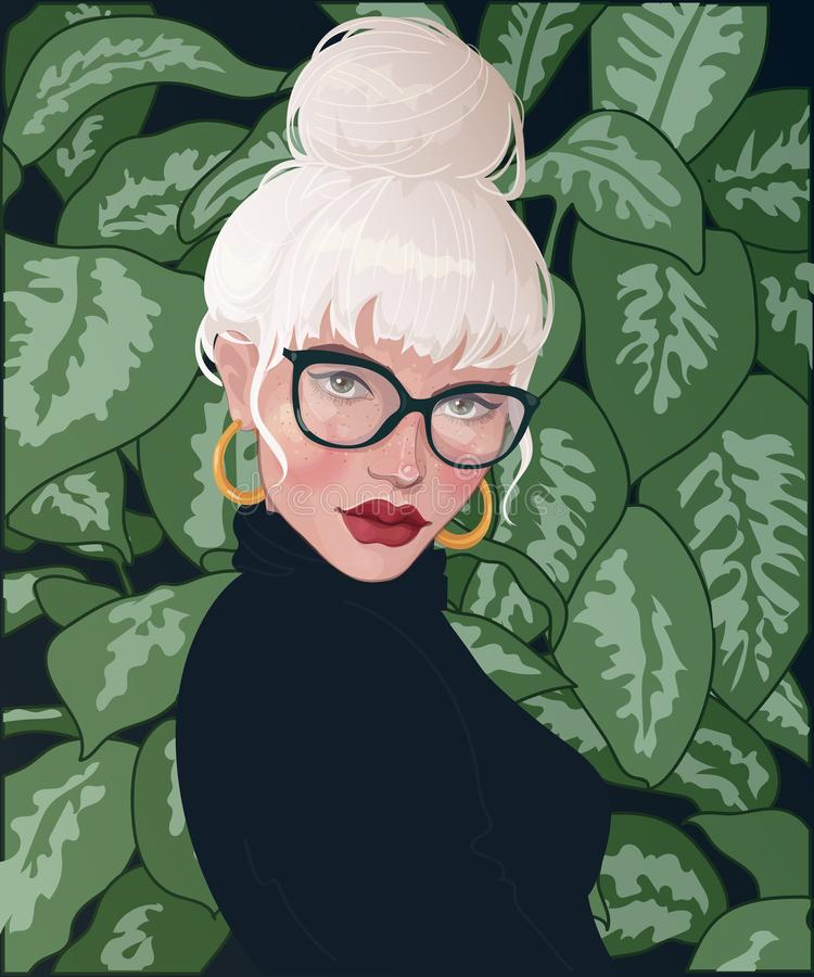 Blonde girl in half turn on the background of foliage. Vector blonde girl with bunch on head from hair, wearing glasses, with red lipstick, standing against the stock illustration